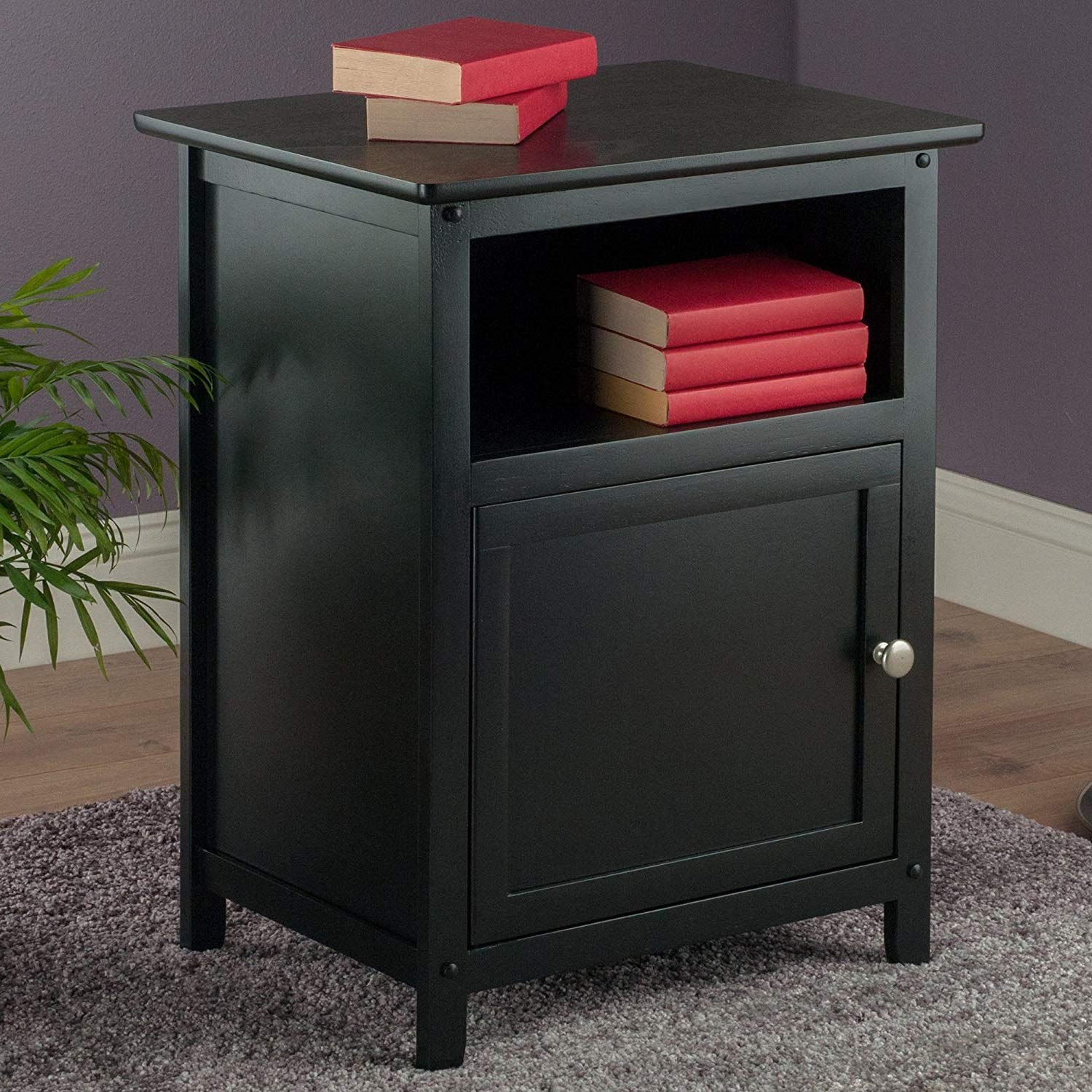 door sturdy nightstand winsome wood accent table end instructions bookshelf bedside shelf for storage black finish kitchen dining leather living room sets modern industrial tables