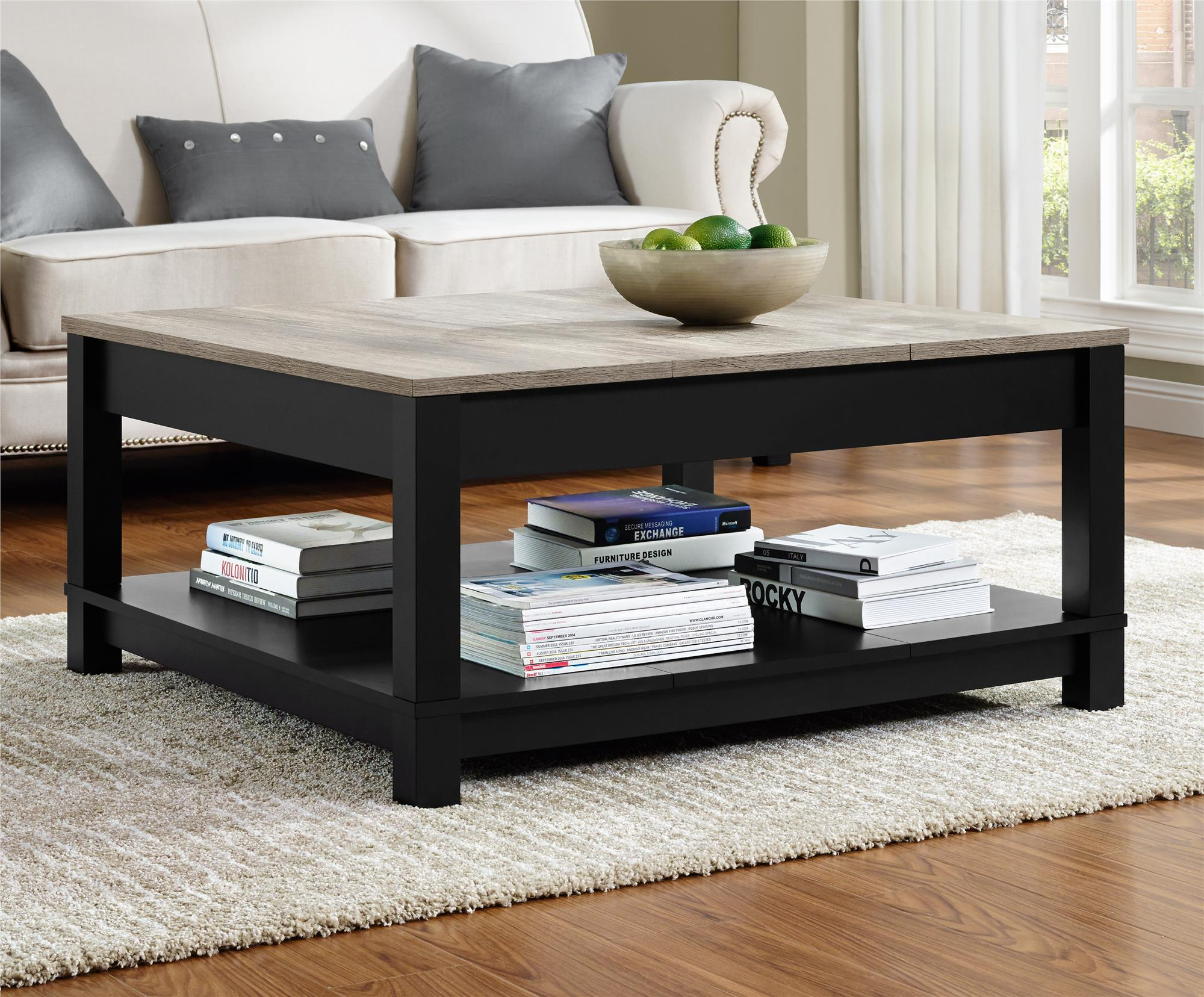 dorel carver black sonoma oak coffee table prod and end sets mcm side wooden pet wicker storage trunks chests slate top set tall round rustic office furniture skinny tables accent