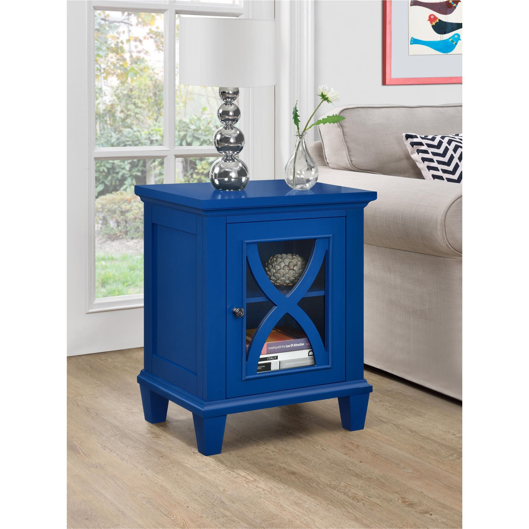 dorel home furnishings ellington blue single door accent cabinet table with glass doors oak lamp half moon turquoise placemats and napkins tiled garden small storage west elm owl