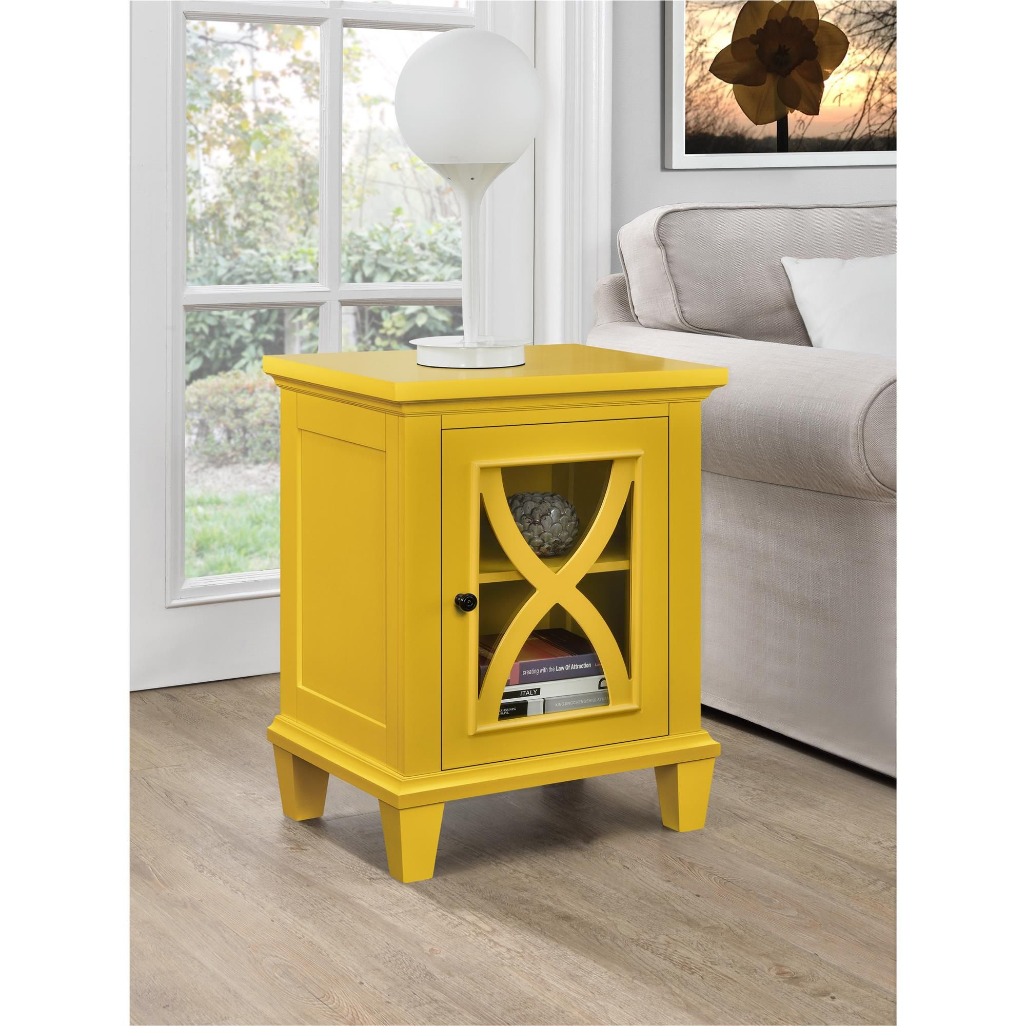 dorel home furnishings ellington yellow single door accent cabinet table goods runners washers marble bistro hampton bay chair cushions black steel legs rustic white console