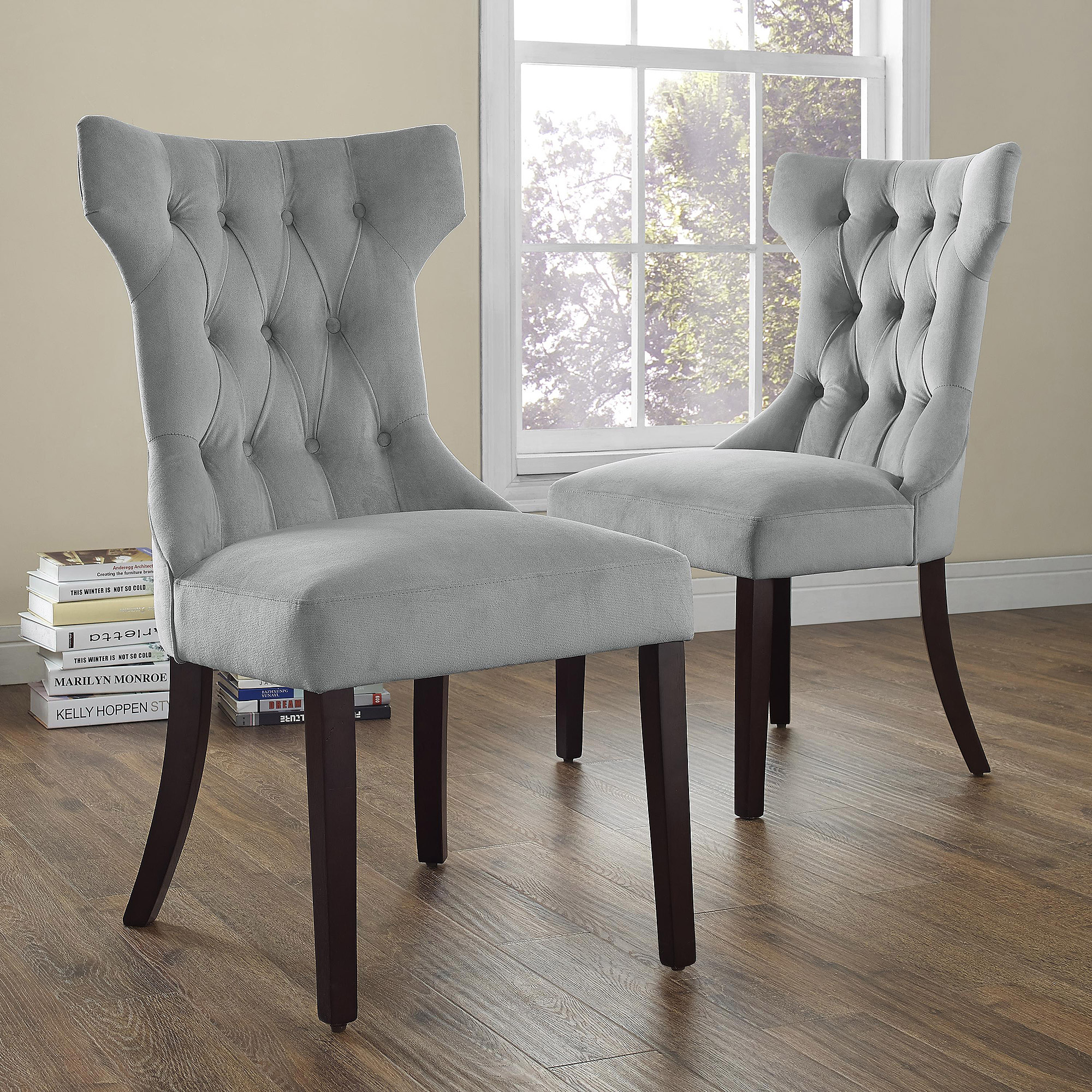 dorel living clairborne tufted upholestered dining chair set ave six piece fabric and accent table narrow hall cupboard geometric lamp solid wood side tables wide mirror large