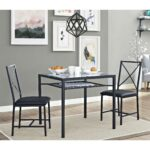 dorel living mainstays piece metal and glass dinette black source square accent table space with the featuring sturdy construction finish this set includes dining large white deep 150x150