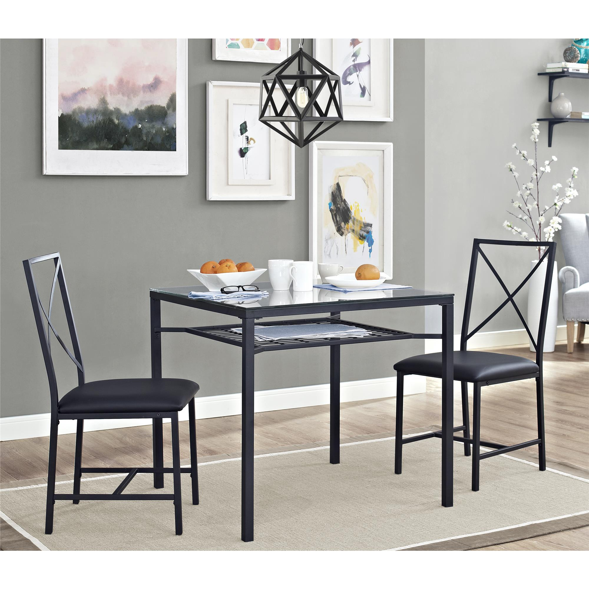 dorel living mainstays piece metal and glass dinette black source square accent table space with the featuring sturdy construction finish this set includes dining large white deep