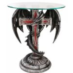 dragon cross glass topped sculptural table with round side top accent mystic convergence wiccan supplies pagan jewelry black coffee and end tables small lamps chaise furniture 150x150