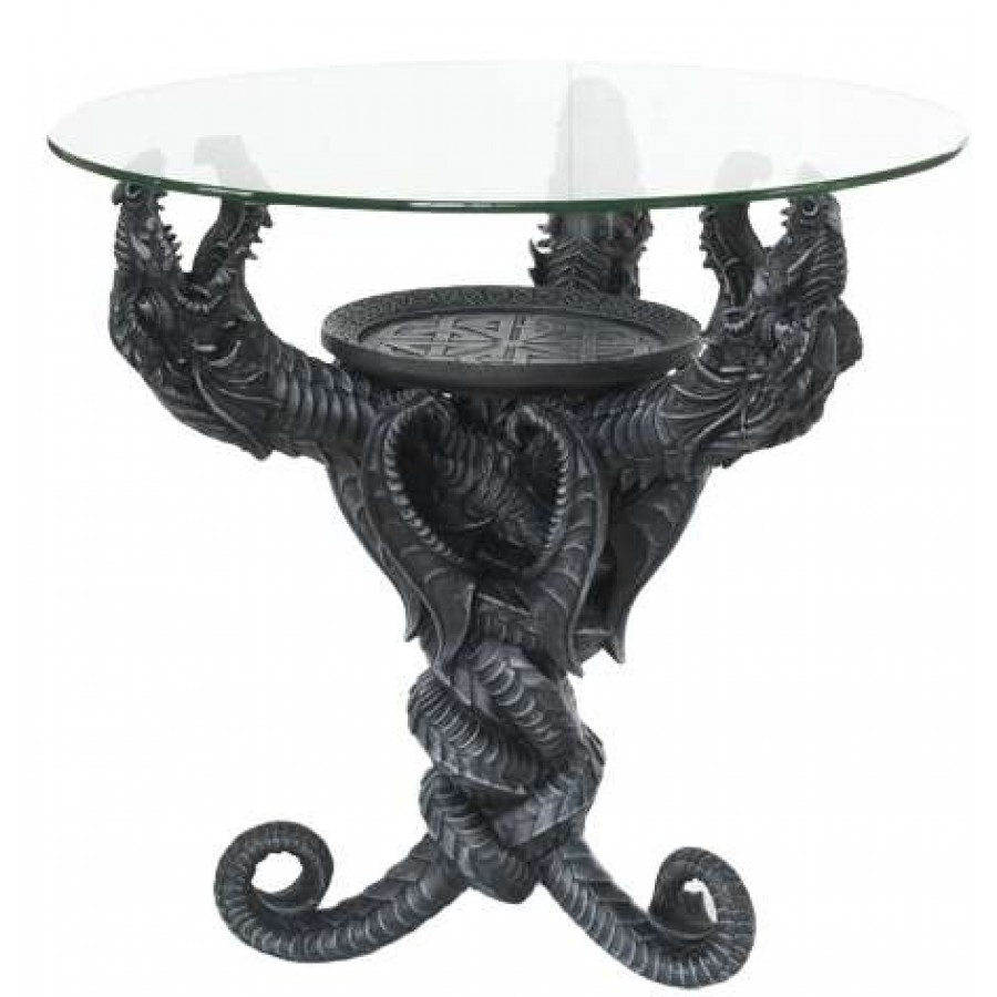 dragon glass topped sculptural table with round top accent labe home decor fashion and jewelry room essentials side small white marble craftsman lamp formal chairs modern bedside