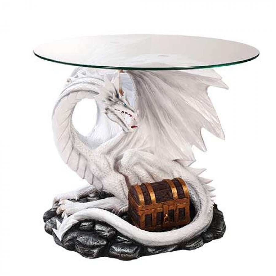 dragon treasure glass topped sculptural table with round white top accent majestic dragonfly home decor artwork unique decorative nautical lanterns black occasional art deco
