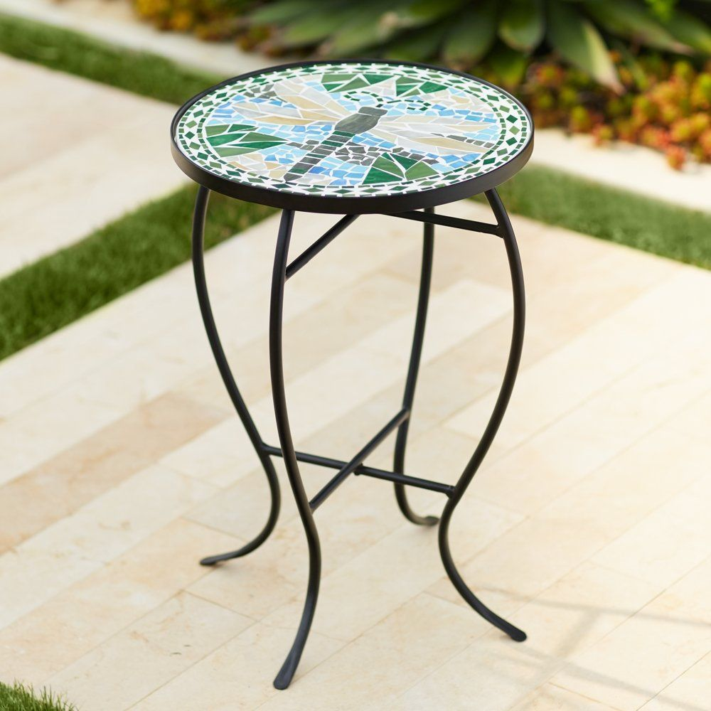 dragonfly mosaic black iron outdoor accent table bella green entrance decor small vintage console oval wood coffee extra wide floor threshold cooler beach chairs bunnings antique