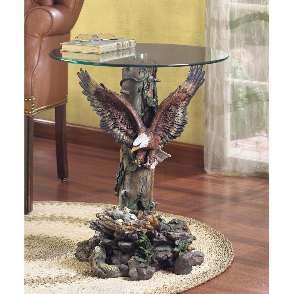 dramatic accent table eagle wolf stallion dolphin dragon unicorn white tiger accentplus unique end tables round outdoor furniture comfortable patio chairs home goods granite top