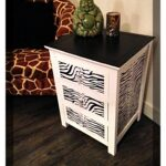 drawer bedside table with zebra print decoupage effect fancy end open top coffee glass cocktail ashley furniture leather living room sets sleeper sofa dark cherry accent tables 150x150