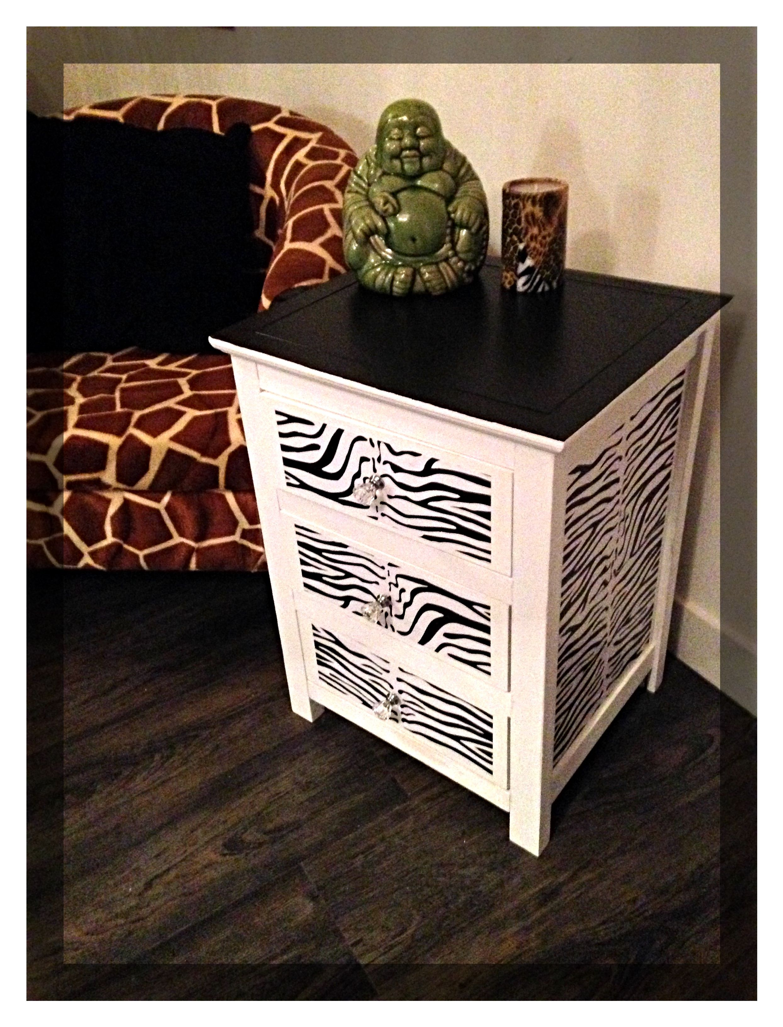 drawer bedside table with zebra print decoupage effect fancy end open top coffee glass cocktail ashley furniture leather living room sets sleeper sofa dark cherry accent tables