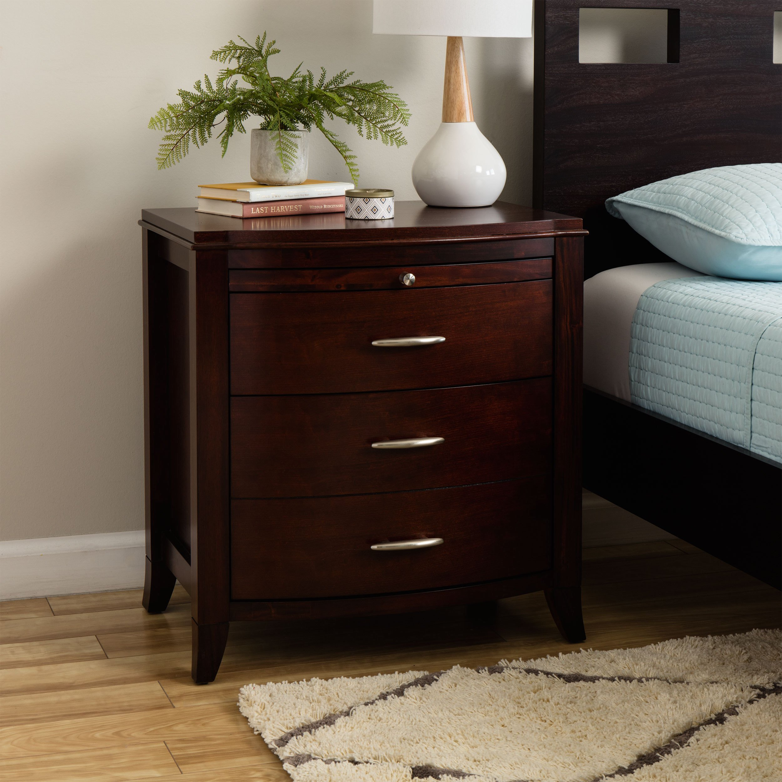 drawer bow front nightstand with tray and power strip accent table cinnamon free shipping today small bedroom end tables bar pub set coffee white chair creative legs pottery barn