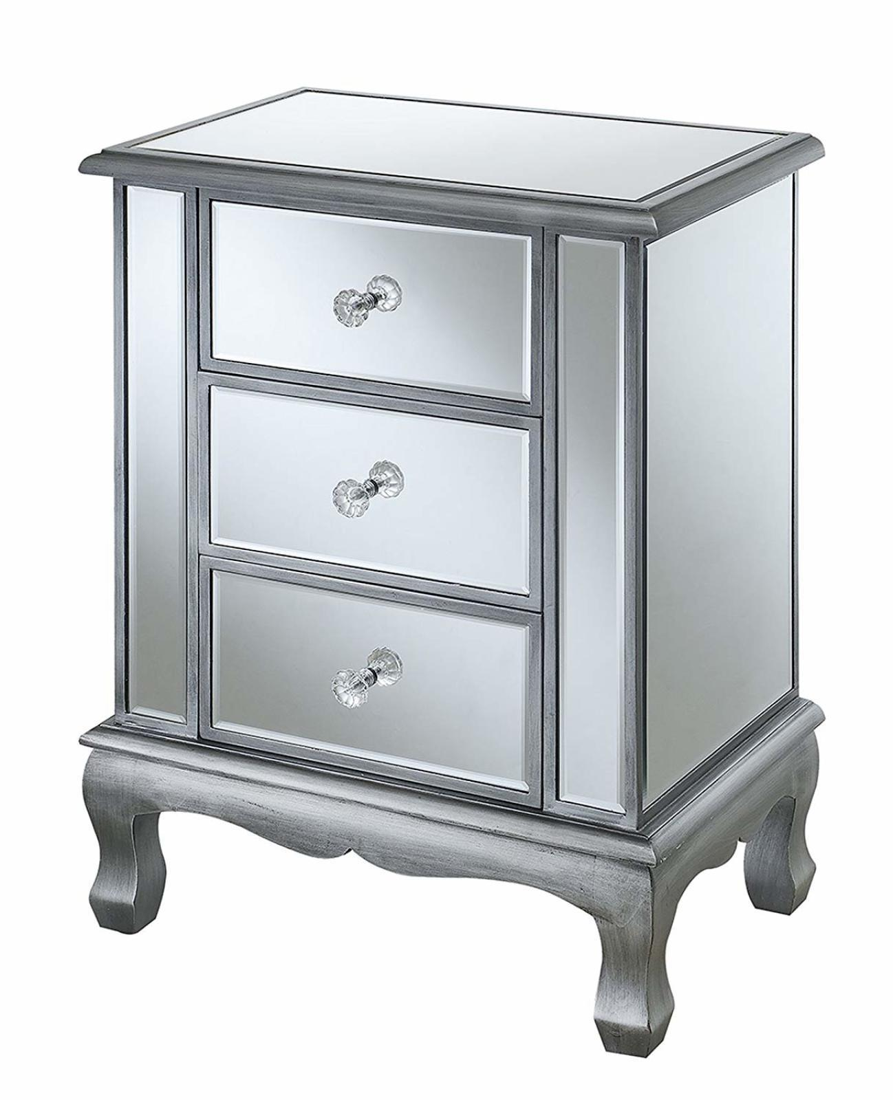 drawer mirrored accent table nightstand chest dresser storage tables and chests mirror decor sil under office cabinets hampton bay patio furniture nautical sconces indoor post