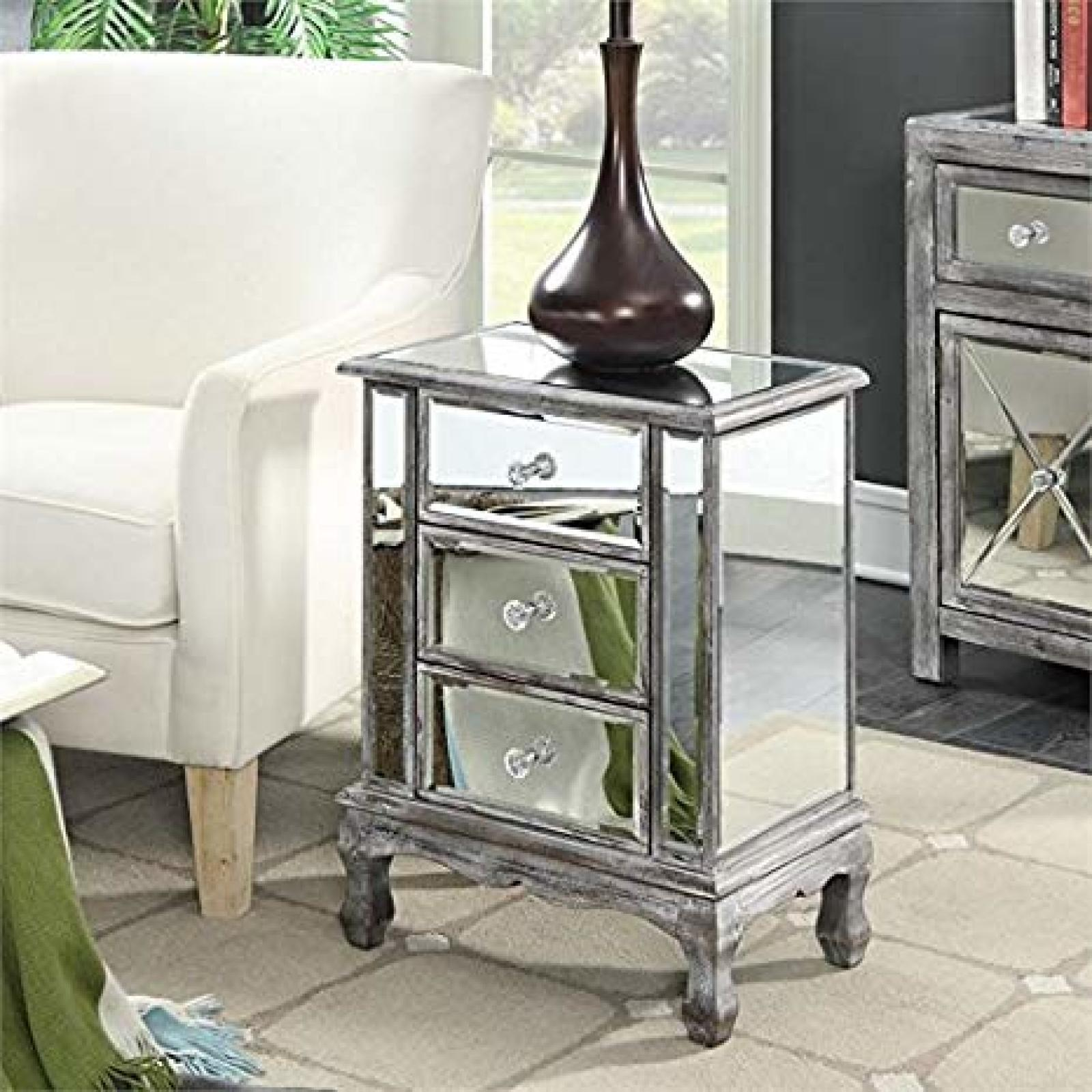 drawer mirrored accent table nightstand chest dresser storage with mirror decor gre carpet tile edging strip marble living room diy coffee target white comforter outdoor daybed