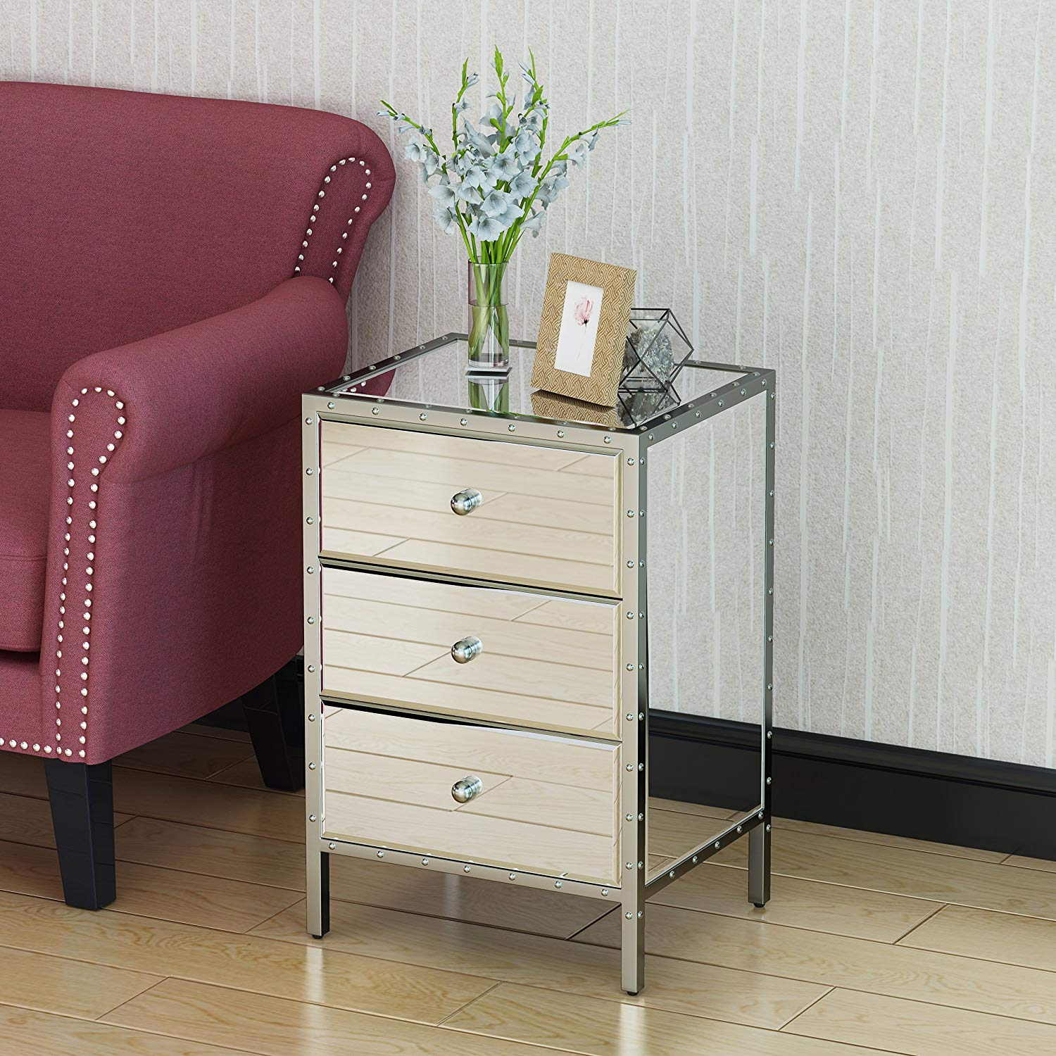 drawer mirrored side table small chest diamond accent drawers stylish all glass design kitchen dining light colored wood end tables furniture astoria round and metal coffee west
