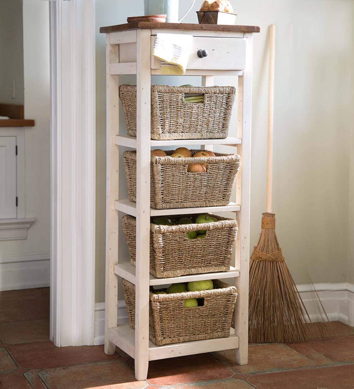 drawer stand with shelves and wicker storage baskets accent tables table basket drawers uttermost sinley home goods lamp sets mirror coffee ikea telephone black outdoor furniture