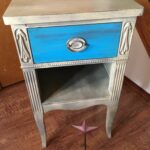 drawer vintage country rustic accent table distressed painted and blue glazed with granite gray robin egg the seneca falls rusticrestorationusa white gold nightstand battery 150x150