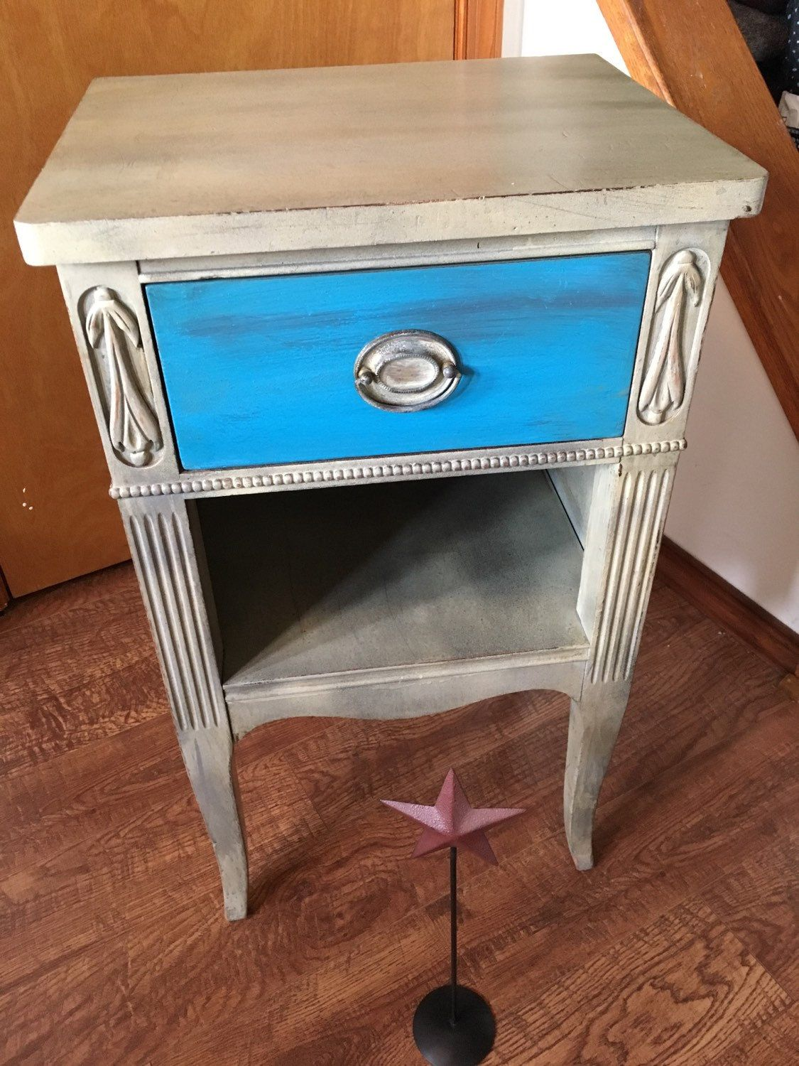 drawer vintage country rustic accent table distressed painted and blue glazed with granite gray robin egg the seneca falls rusticrestorationusa white gold nightstand battery