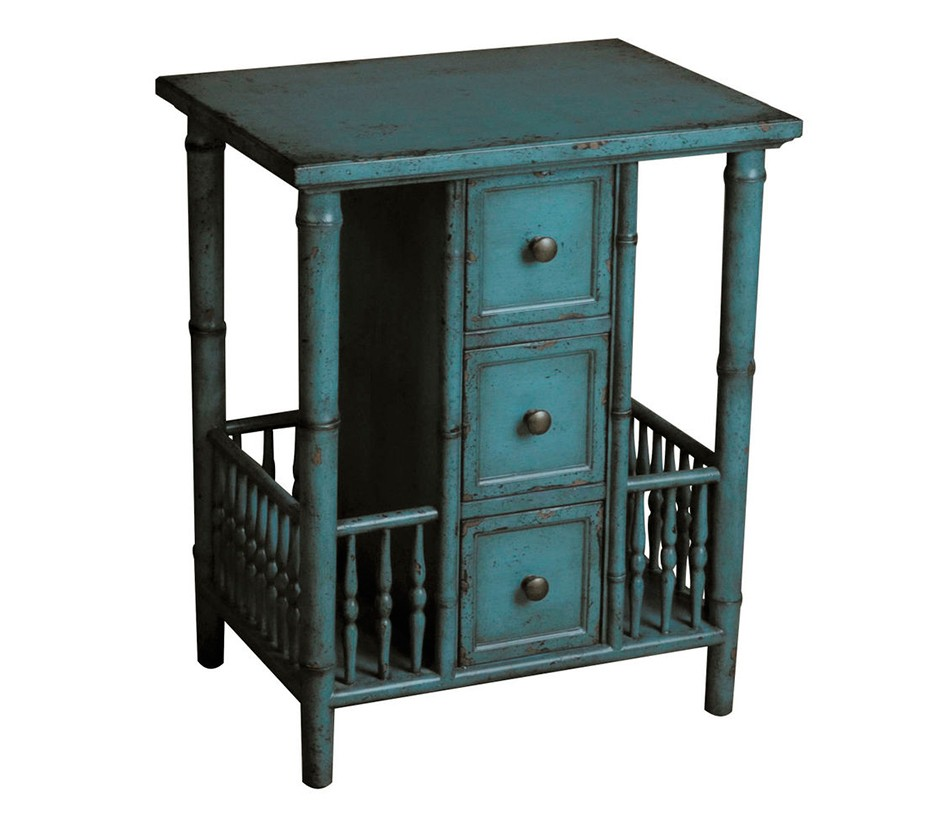 dreamfurniture accent table distressed teal finish inch high nightstand long mirror tread plates wooden door thresholds small round nest tables half moon target makeup vanity