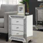 dritan mirror accent drawer end side table three turn your living bedroom into contemporary art gallery with this the staggered layers lustrous silver glass make for dazzling 150x150