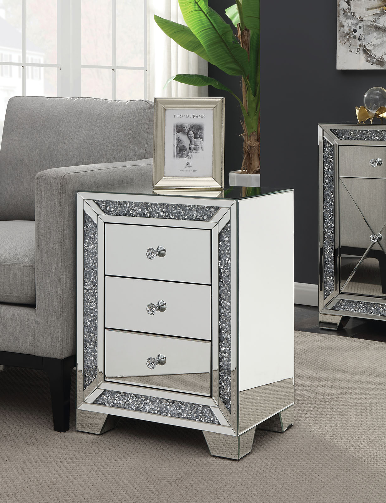 dritan mirror accent drawer end side table three turn your living bedroom into contemporary art gallery with this the staggered layers lustrous silver glass make for dazzling