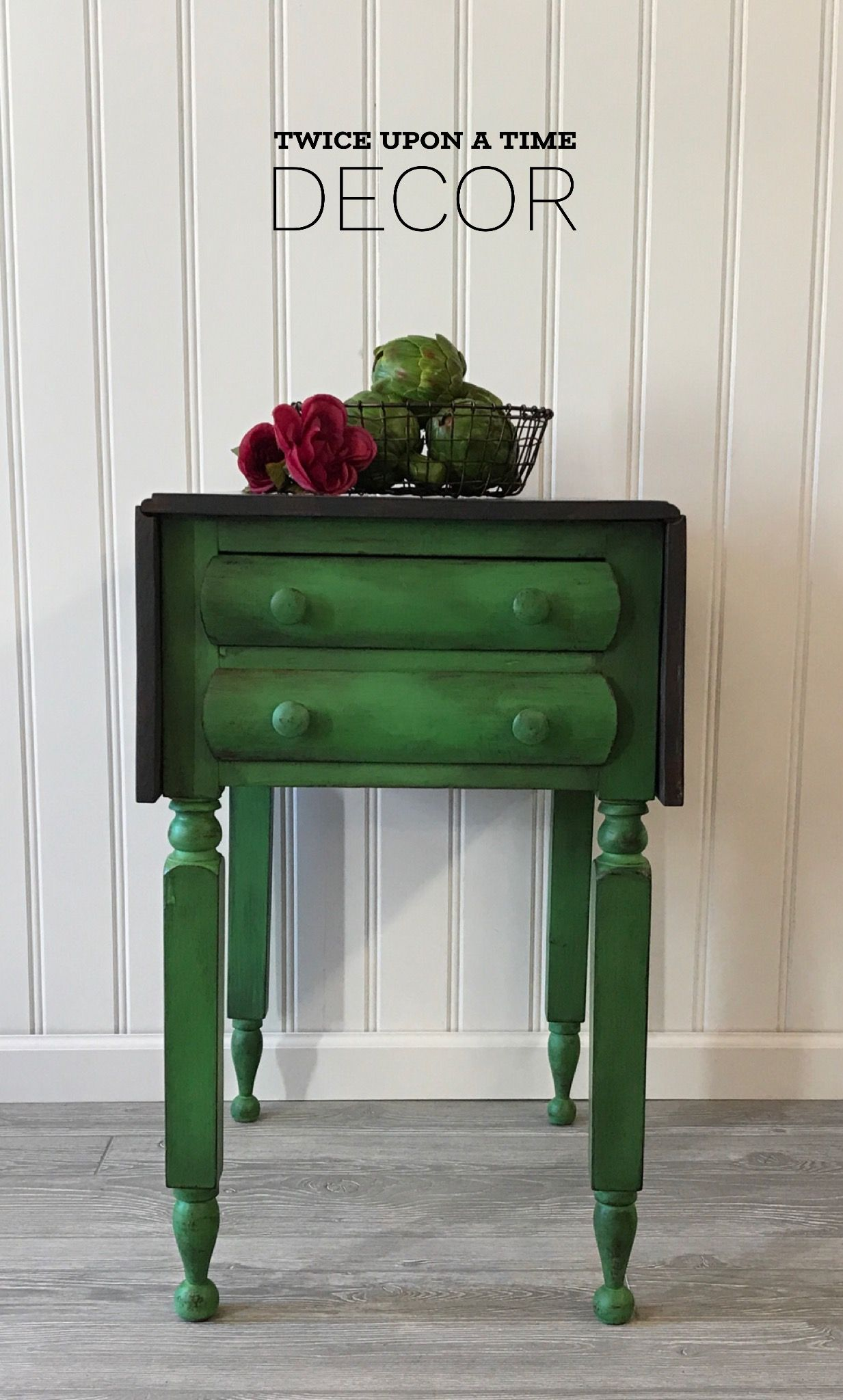 drop leaf accent table refinished annie sloan antibes green paint aged with black revax ikea living room cabinets narrow side metal frame modern clock small pedestal twisted wood