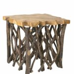 east main lanoka teakwood square accent table brown teak wood stools hammered copper side umbrella stand base dale tiffany wisteria lamp circle coffee with storage small round 150x150