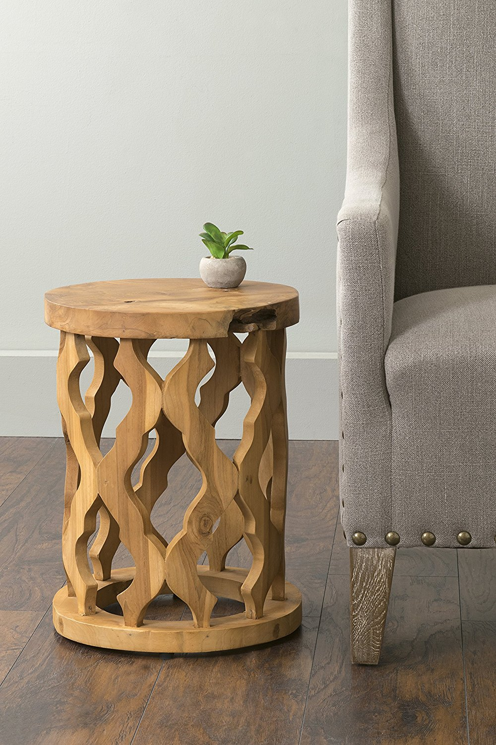 east mains lenox brown round teakwood accent end table teak wood main black bedside modern cabinet uma furniture nook metal bar high top and chairs large antique coffee dale