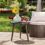easter island outdoor round wicker accent table christopher knight home free shipping today frosted glass cylinder lamp dark wood side cast iron patio furniture painted chest 150x150