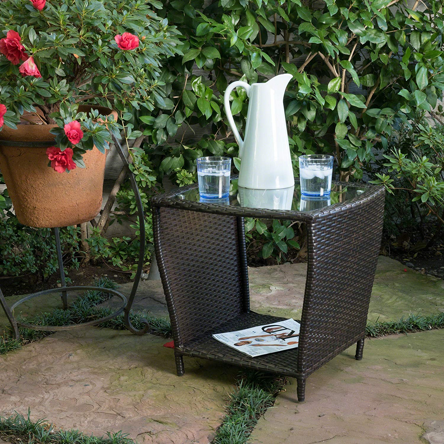 easton outdoor brown wicker accent table garden yszel side nic and bench lucite coffee base round glass top ballard designs chair cushions dale tiffany dragonfly lily lamp modern