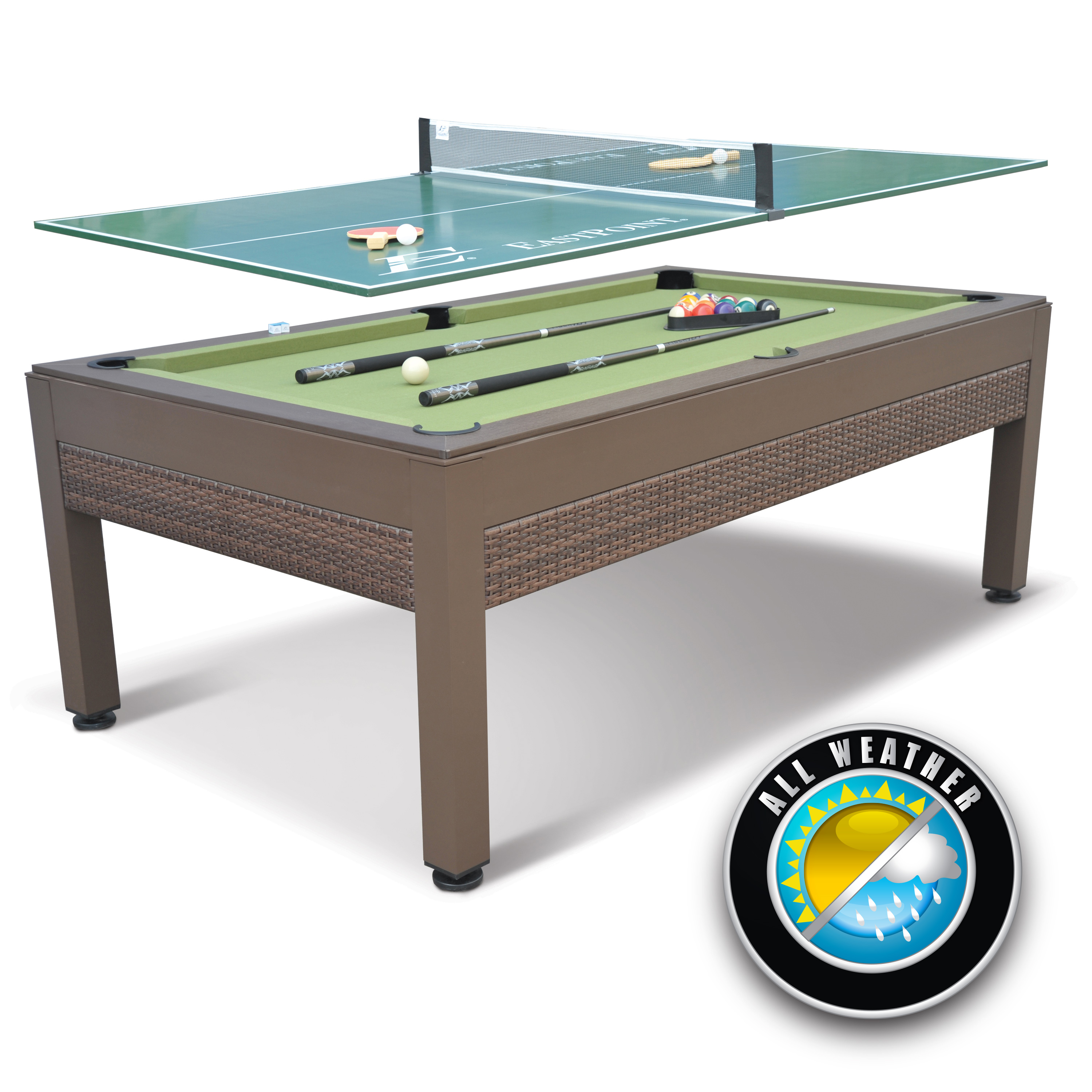 eastpoint sports outdoor billiard pool table with tennis side canadian tire top wicker martel accent console decor ideas cherry wood end tables living room grey gloss nest gold