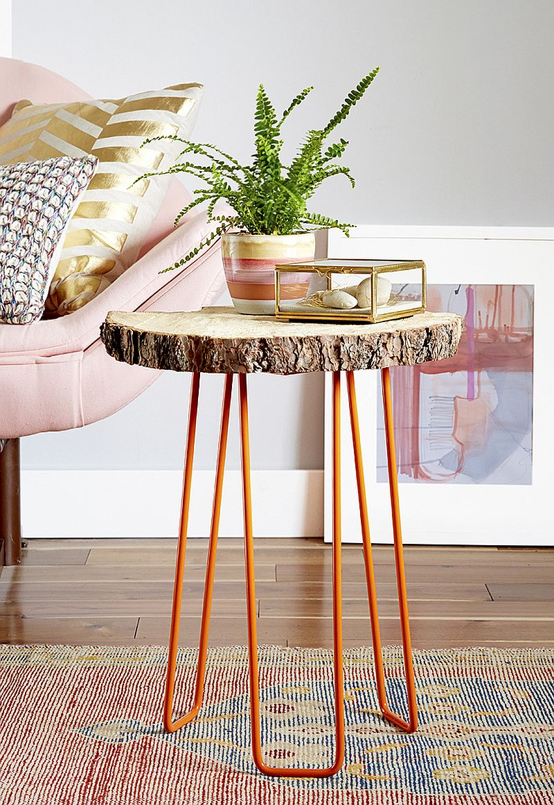 easy and budget friendly diy side table ideas try out hairpin leg with tree trunk top gold accent view gallery pretty beds most comfortable drum throne plus tablet usb end small