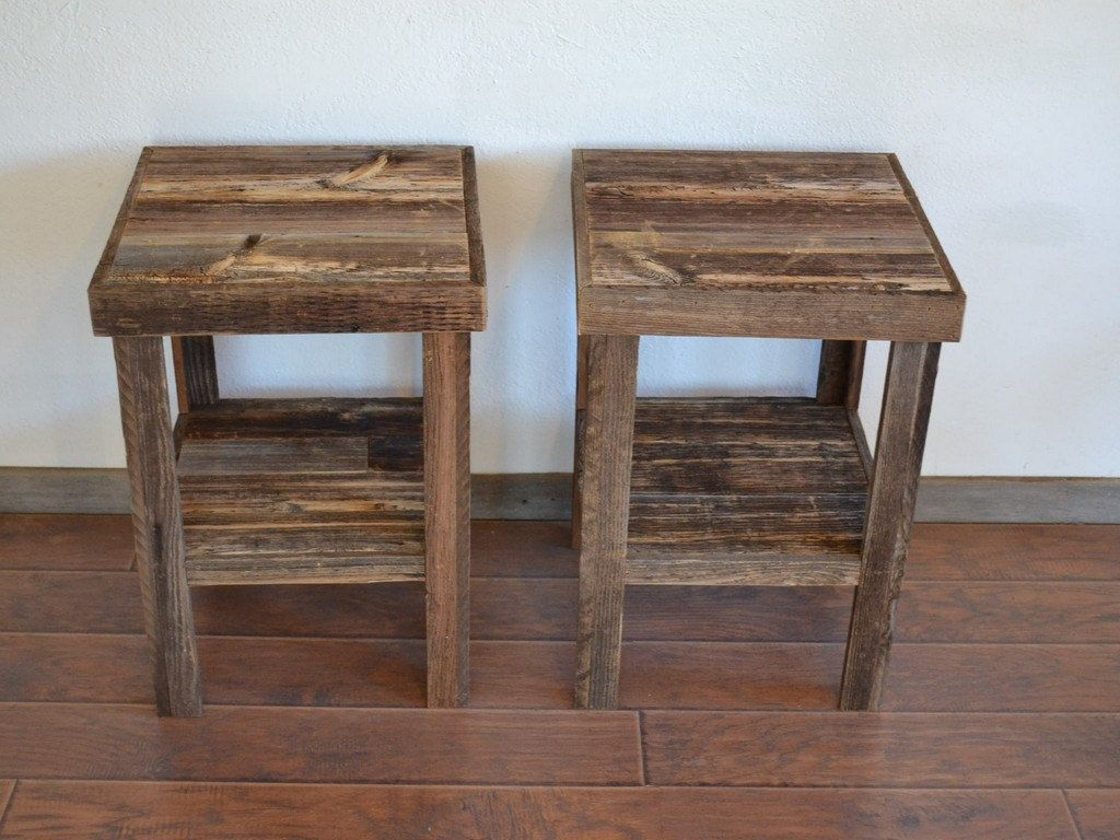 eco friendly barnwood wood end table night stand pair for the rustic accent via etsy furniture catalogue gallerie coffee and sofa set reproduction vintage west elm modernist lamp