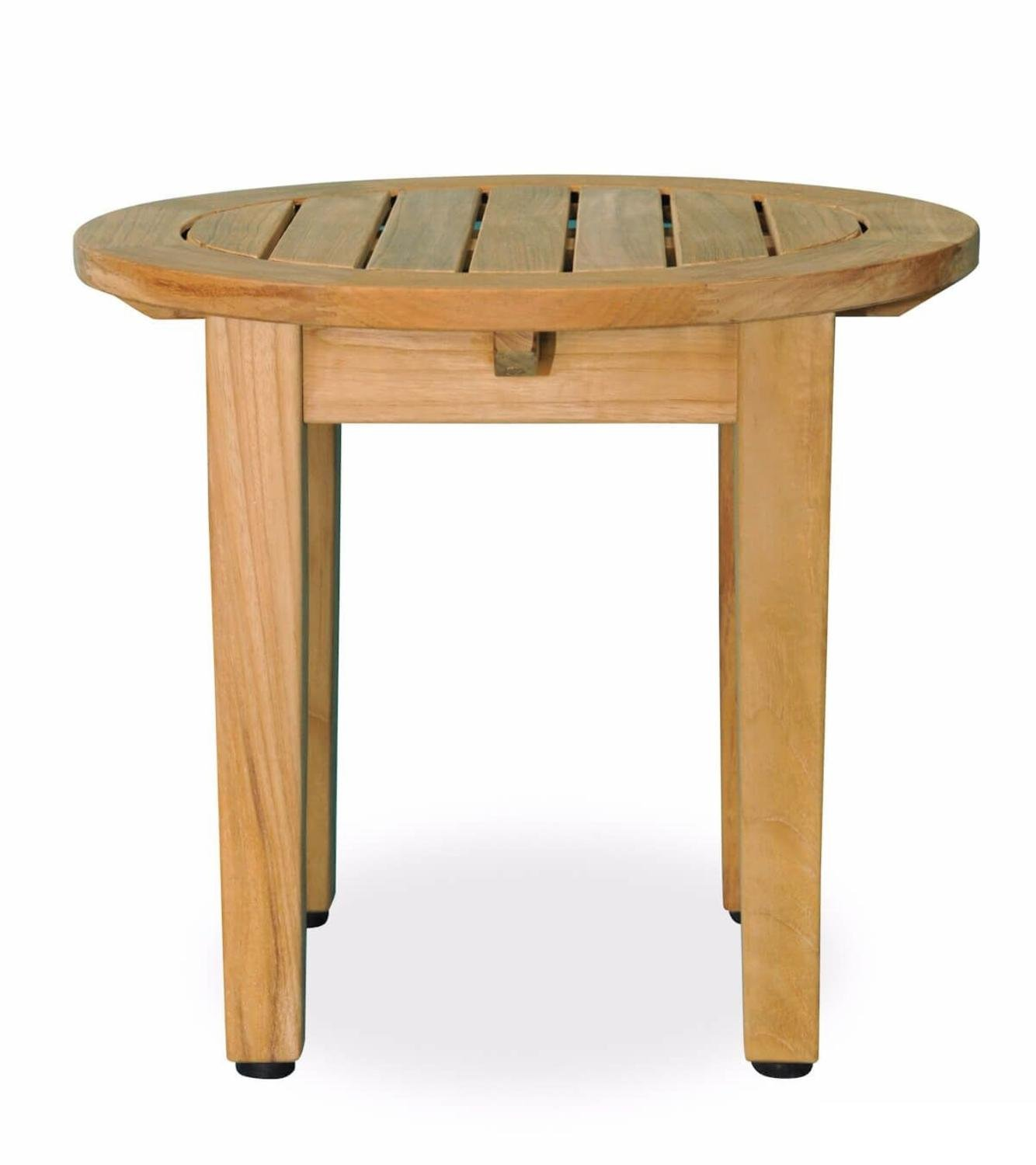 eco friendly furnishings natural teak wooden outdoor side table patio round with tapered legs garden floor accent lamp beverage tub stand target metal drop leaf chair storage