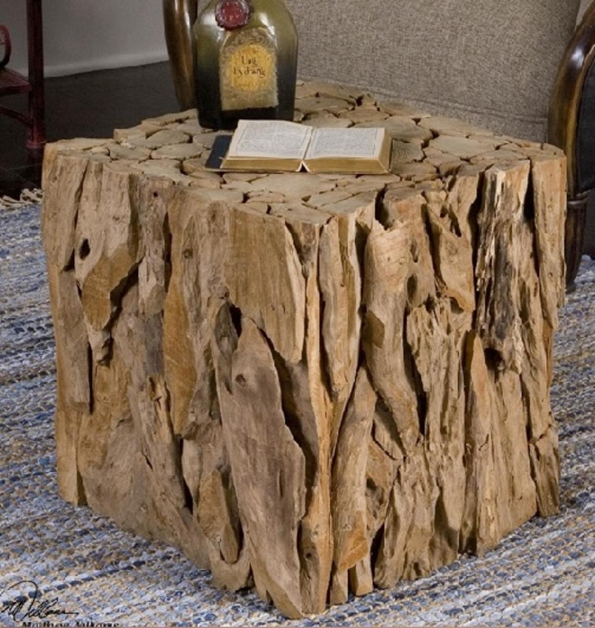 eco friendly natural teak root bunching cube accent table wood tablecloth for inch round dark brown end tables rustic farmhouse and chairs modern coffee toronto silver mirrored