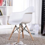 eggree mid century modern accent armchair dining chairs molded plastic shell wooden legs for bedroom living room set white furniture round coffee table with drawers red cream 150x150