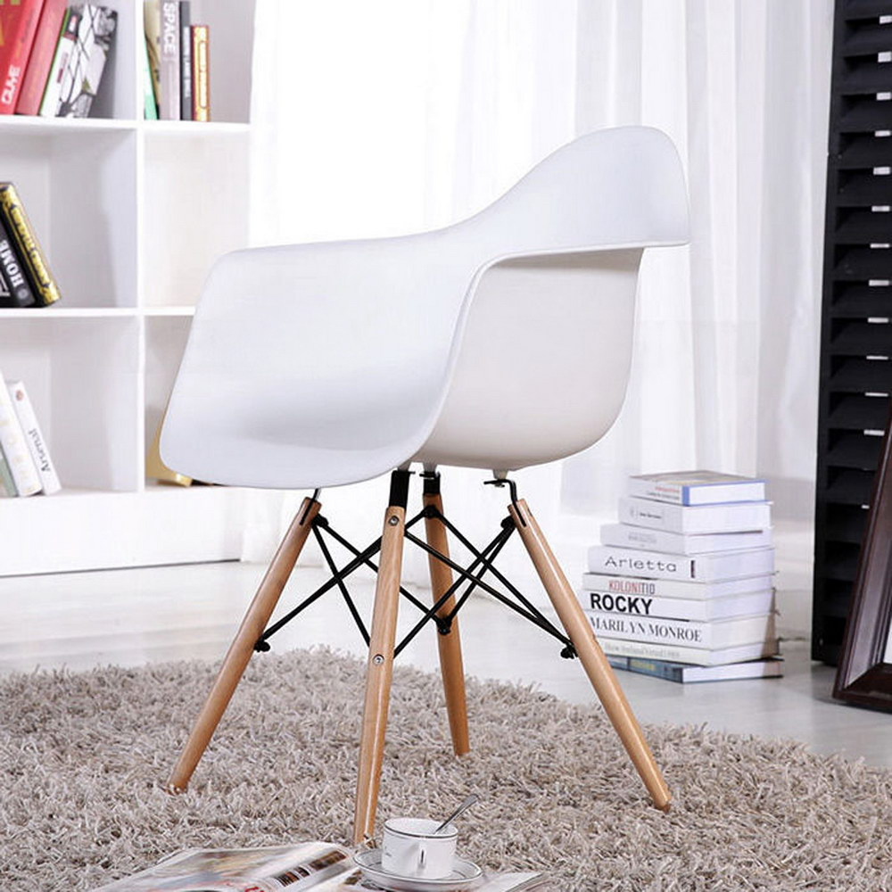 eggree mid century modern accent armchair dining chairs molded plastic shell wooden legs for bedroom living room set white furniture round coffee table with drawers red cream