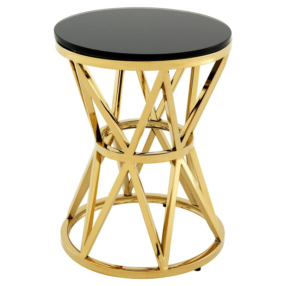 eichholtz domingo modern classic gold black glass round drum side product outdoor table small kathy kuo coastal style lighting teal bedroom chair crystal lamps ashley coffee