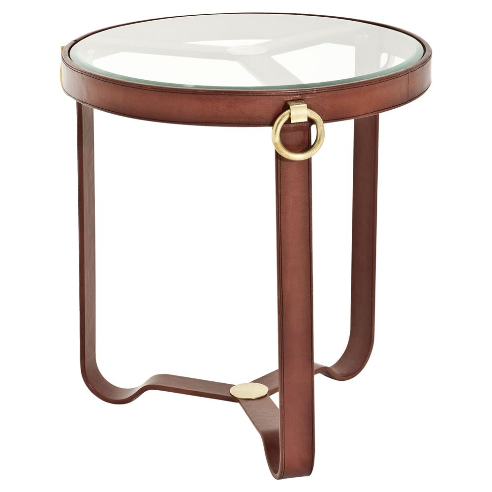 eichholtz lorain rustic sienna brown leather round glass side end table product hawthorne top accent kathy kuo home ashley furniture coffee and sets replacement legs watchers the