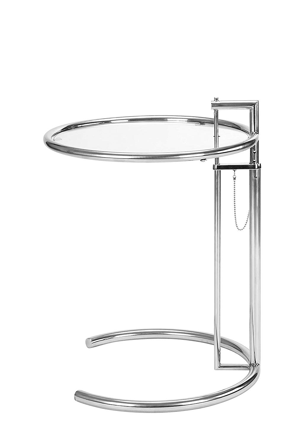 eileen grey gray end side table adjustable height accent coffee with tempered circle glass top and stainless steel tublar frame modern wrought iron foot long sofa mini lamp silver