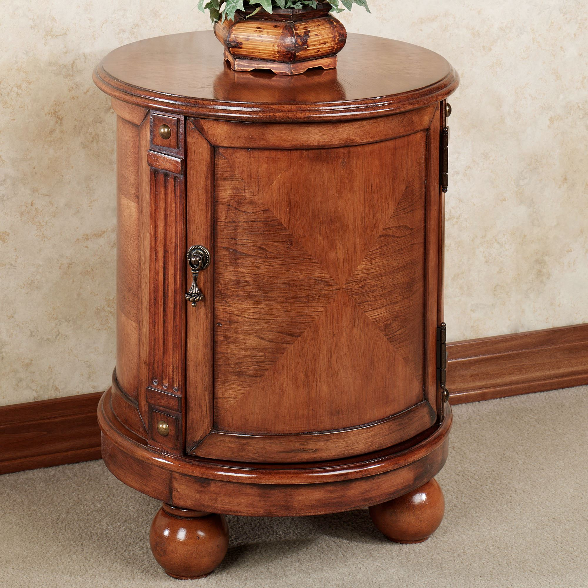 eldred round chairside accent storage chest end table with doors touch zoom extra large dog crate furniture above toilet shelf brushed silver coffee mirrored magnussen galloway