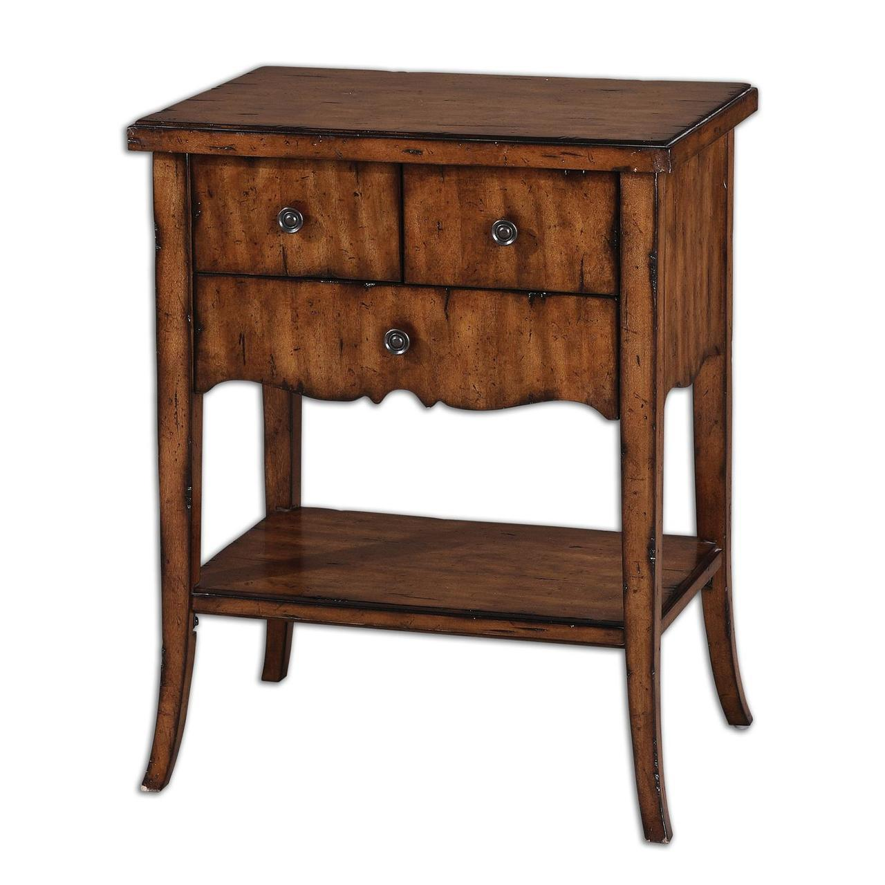 eldridge distressed warm primavera veneer wood drawer accent three table side beach themed lamp shades trim between carpet and tile round nightstand tablecloth metal coffee screen