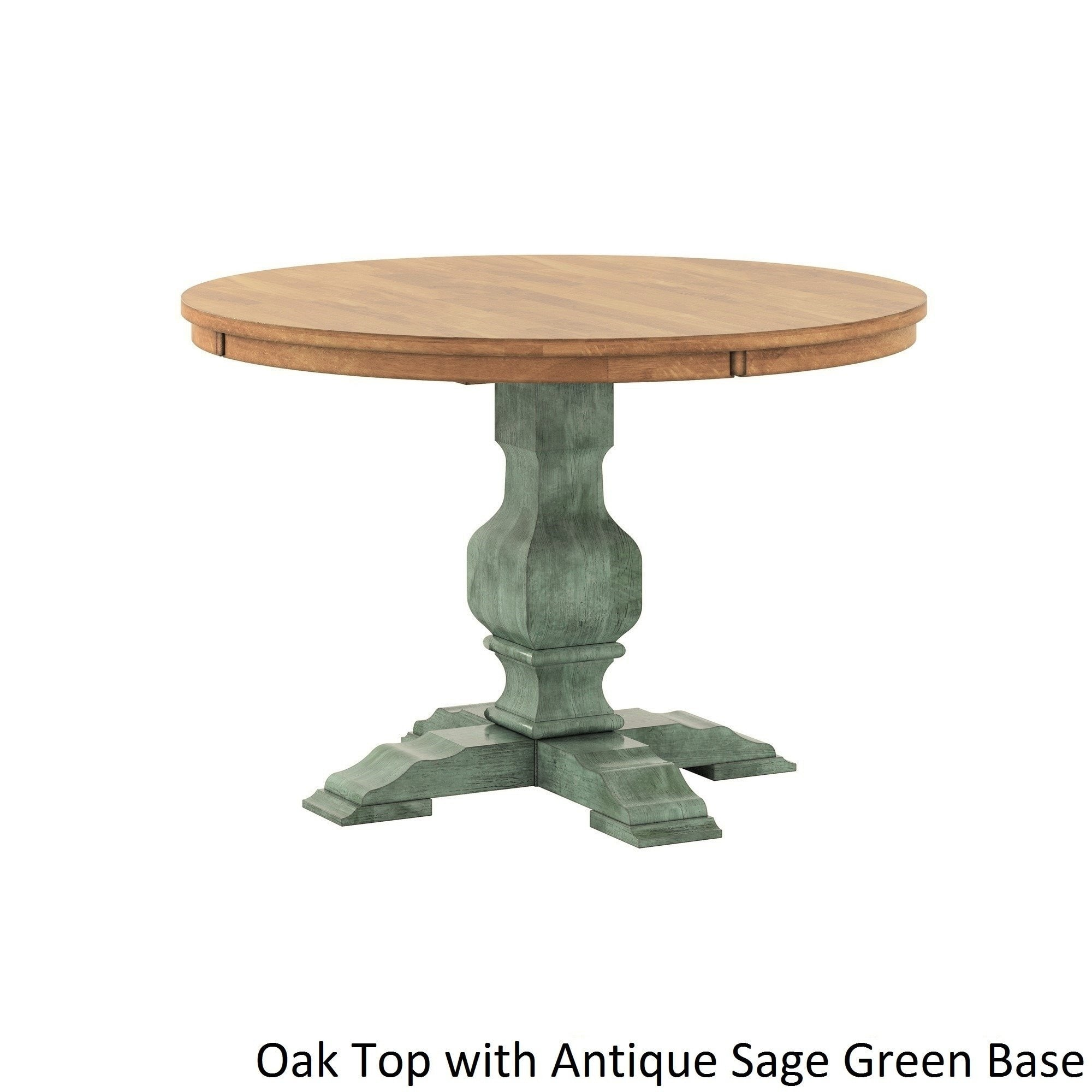 eleanor two tone round solid wood top dining table inspire classic sage green accent tables free shipping today farm style kitchen wicker set bedside lamp base west elm armchair