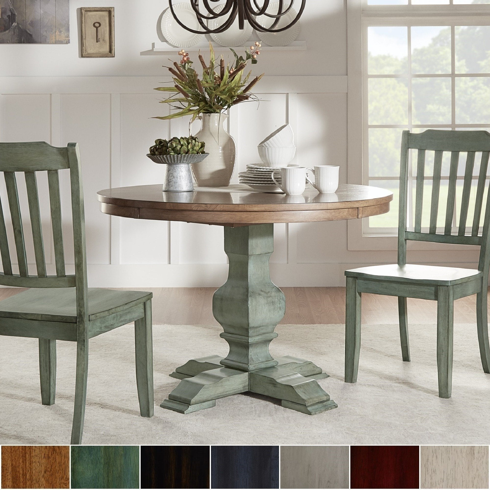 eleanor two tone round solid wood top dining table inspire classic sage green accent tables narrow entryway cabinet small grey bedroom chair counter height trestle bunnings timber