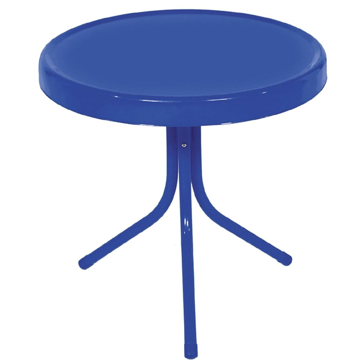 electric blue retro metal tulip outdoor side table free shipping today reclaimed wood round end threshold rustic accent beverage cooler best drum throne hobby lobby patio
