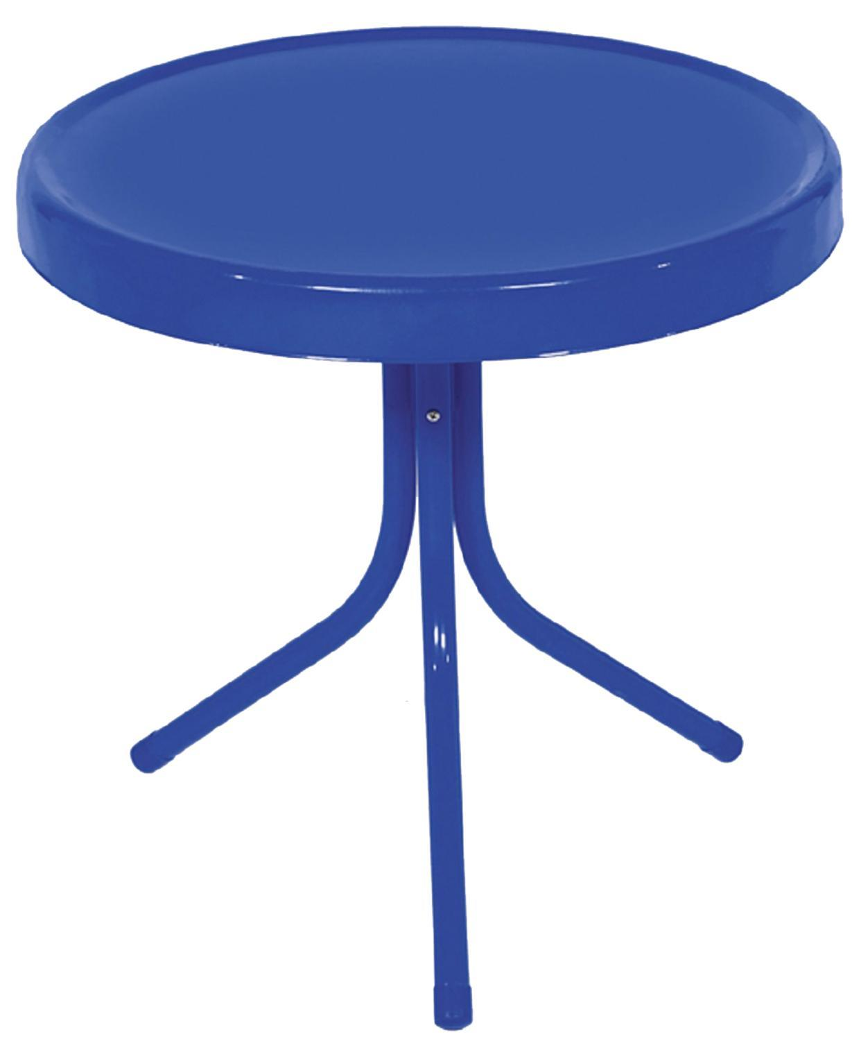 electric blue retro metal tulip outdoor side table piece dining set mosaic beverage cooler lawn chair cushions nesting tables foyer and mirror purple furniture room sets for small