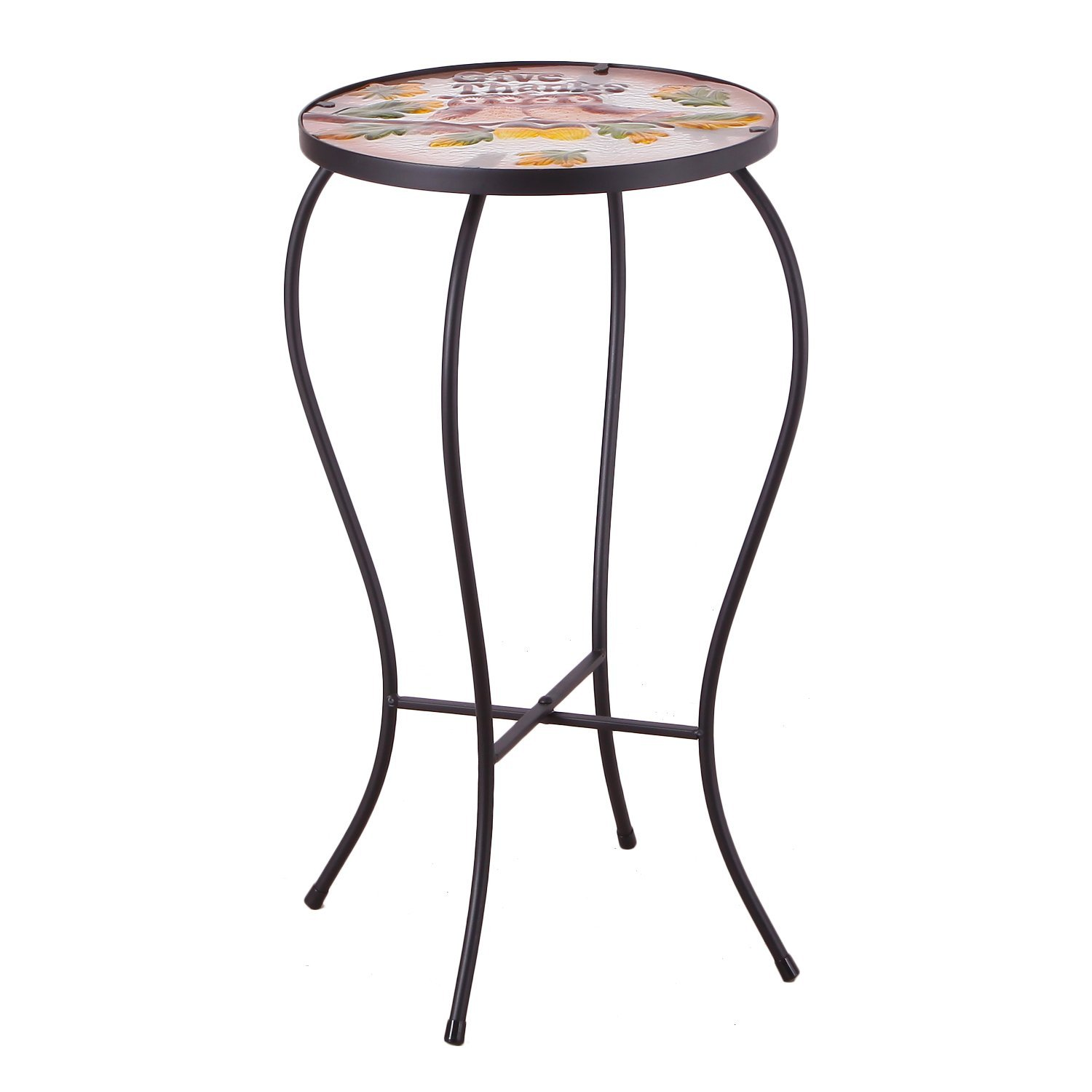 elegan glass side table plant stand patio zaltana mosaic outdoor accent garden stump pier one imports furniture mid century modern console target black dresser white contemporary