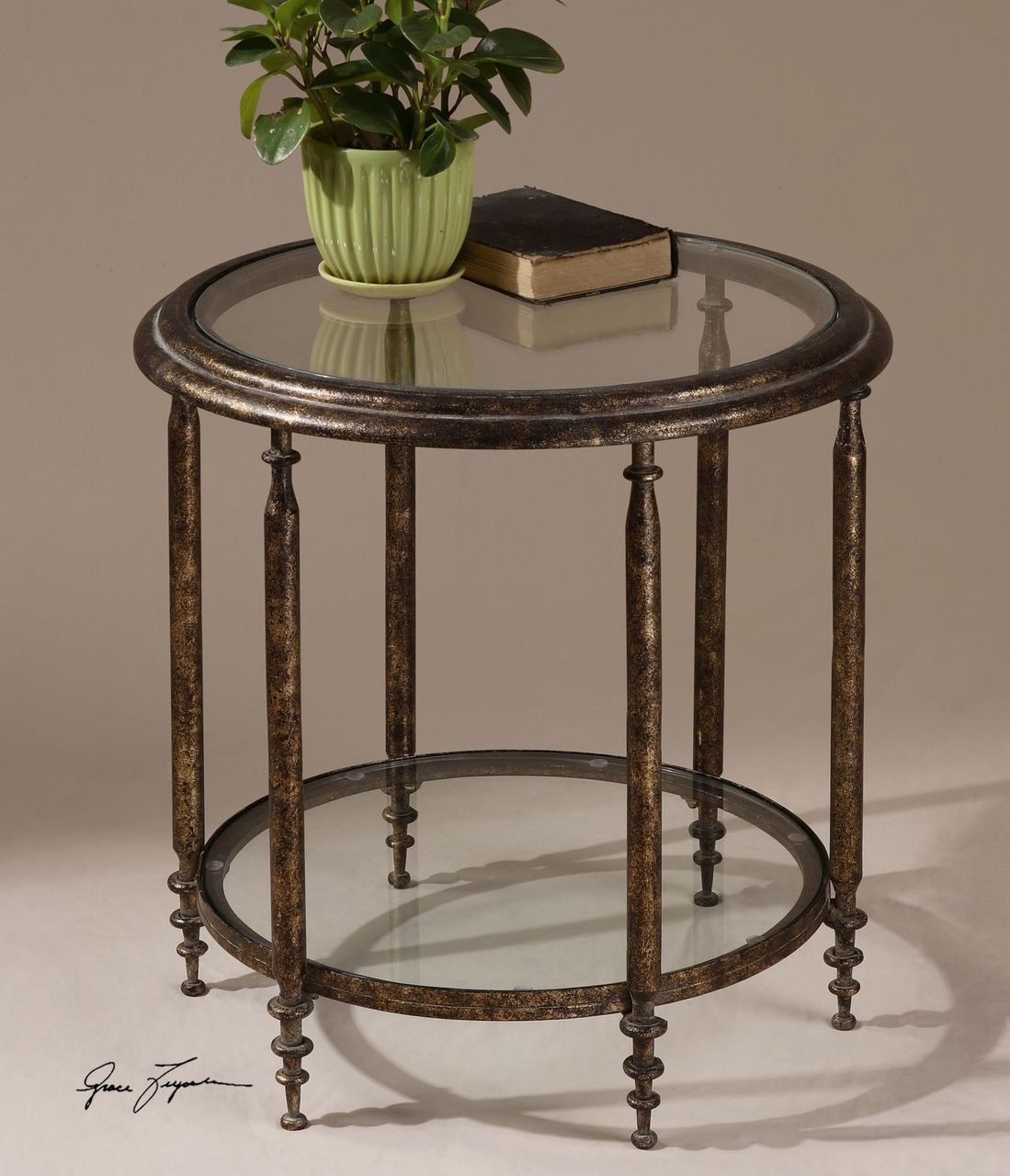elegant antiqued gold round accent table with glass top swanky home nickel lamp and chairs for small spaces narrow console shelves hallway yacht furniture french rustic coffee