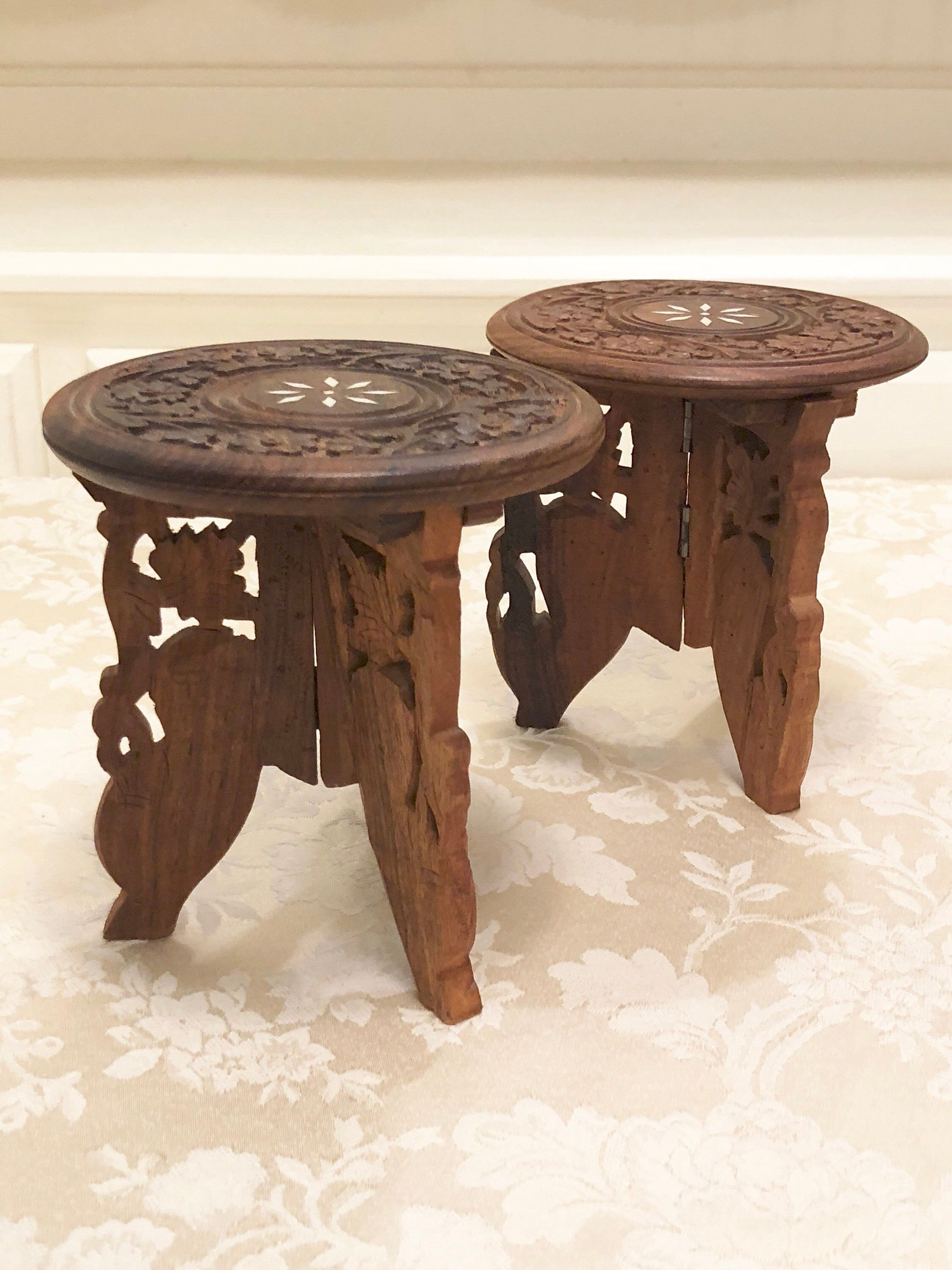 elegant carved wooden display candle holder small accent table shelf excited share this item from etsy yoga decor pottery barn patio furniture tall chairs reproduction designer