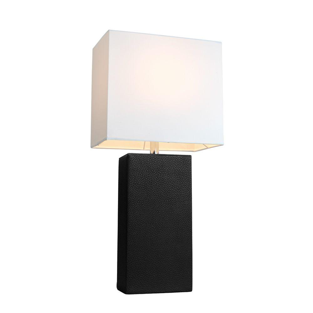elegant designs avenue modern black leather table lamp lamps blk nautical accent with white fabric shade popular entry and mirror set narrow console cabinet battery operated timer