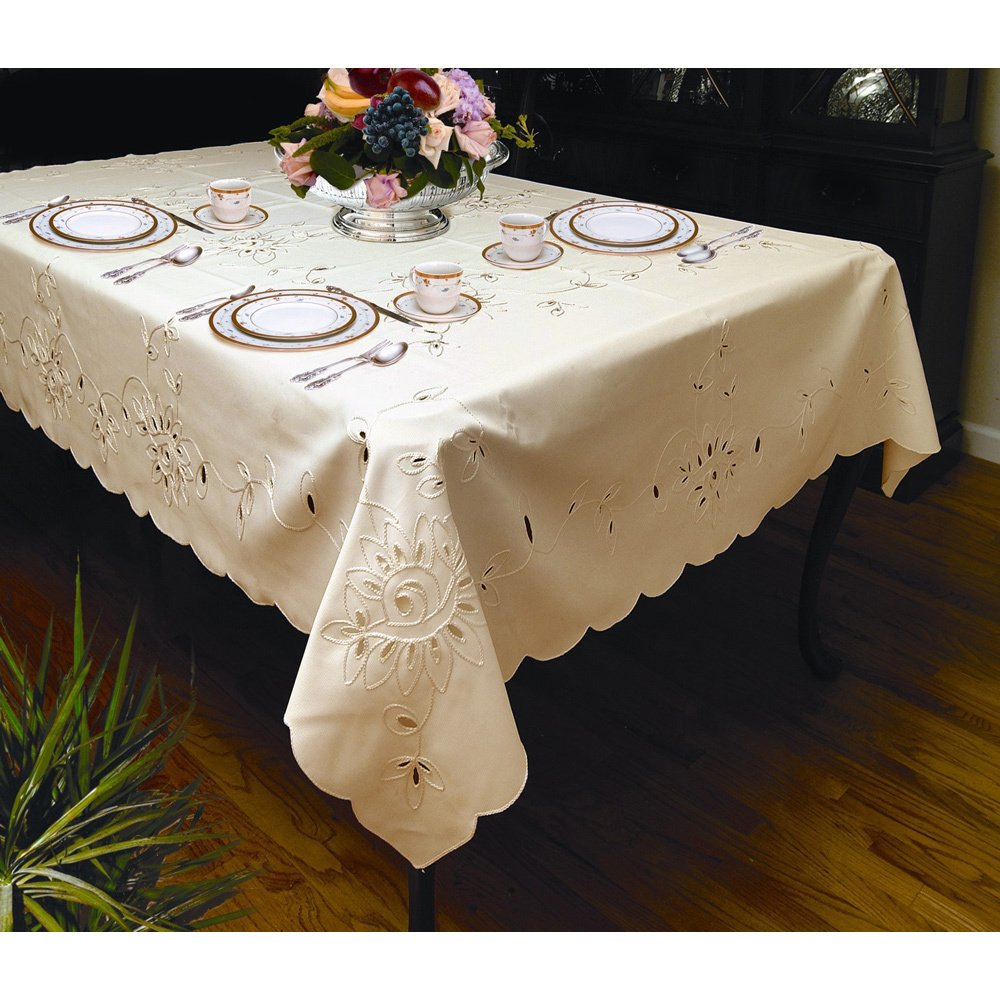 elegant petal design tablecloth white ivory rectangular and round sizes accent free shipping orders over southern enterprises mirage mirrored console table silver topper patterns